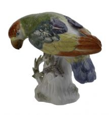 Meissen Porcelain Bird Figurine - Parrot Green/Blue